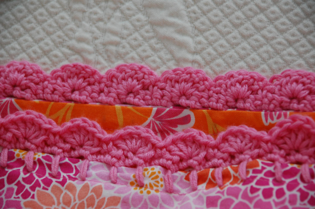 Step by step instructions on how to crochet an edge on pillowcase. A DIY home decor idea for a girl's bedroom.