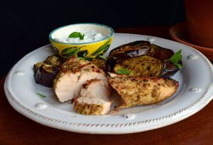 zatar grilled chicken and eggplant with mint yogurt