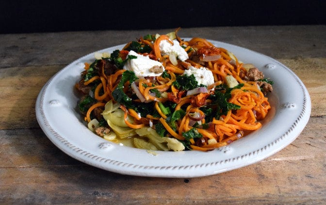 Spiralized Sweet Potato Pasta is a perfect and easy dinner recipe.