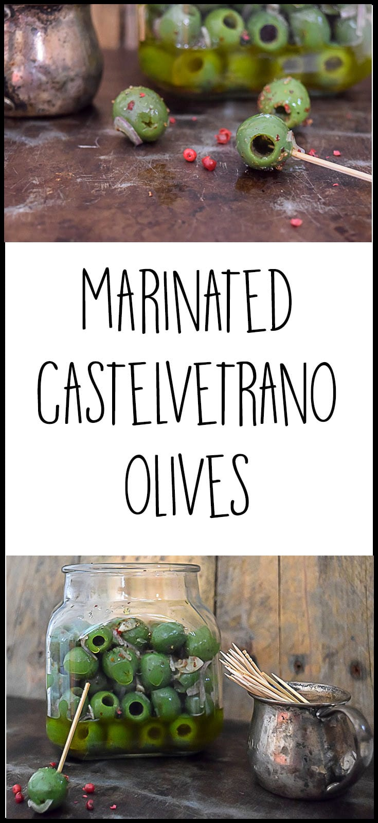 A recipe for Marinated Castelvetrano olives with shallots, garlic and pink peppercorn. Perfect for snacking and appetizers.