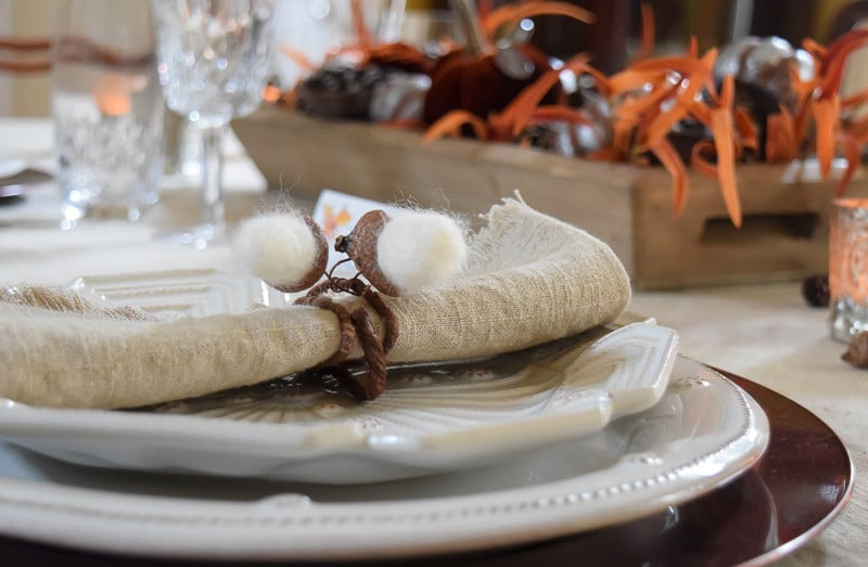 Needle Felted Acorn Napkin Rings and Thanksgiving Centerpiece