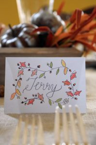 fall leaves acorn place cards