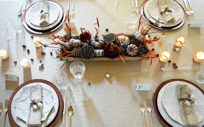 Supplies and instructions for an easy Fall through Thanksgiving Table Centerpiece
