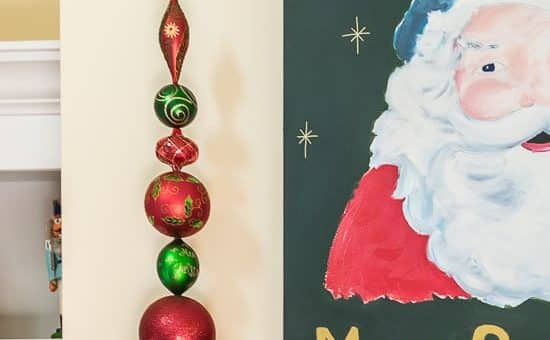 Illustrated instructions on how to make ornament topiaries using inexpensive plastic ornaments, a wood dowel and plaster of paris. Easy Christmas Decor DIY.