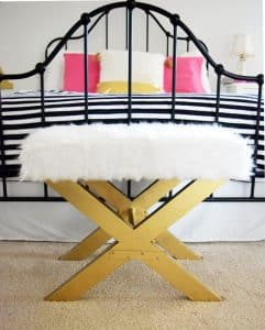 A home decor DIY that took a bench from glum to glam. Perfect for a girls bedroom