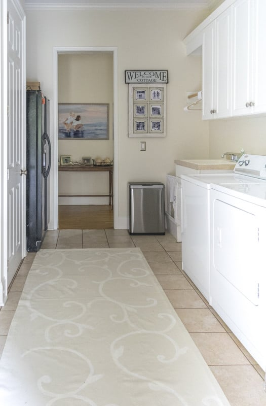 I finished sprucing up my laundry room for the One Room Challenge and now it's time for my more neutral and calm Laundry Room Reveal.