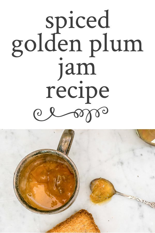 Recipe for golden plum jam, spiced with cardamom, cinnamon & ginger. Perfect for morning toast or biscuit, and hostess, housewarming or holiday gifting. #plum #goldenplum #jam #spiced #canning #waterbath