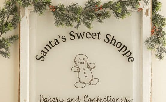 Add a little garland to your Santa's Sweet Shoppe Window