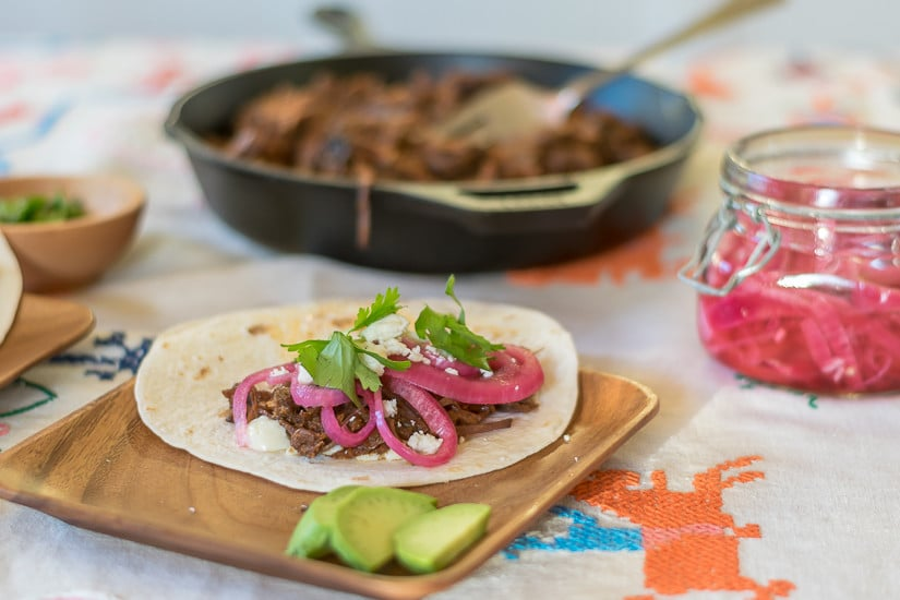 Recipe for Chile-Braised Short Rib Tacos and Pickled Red Onions