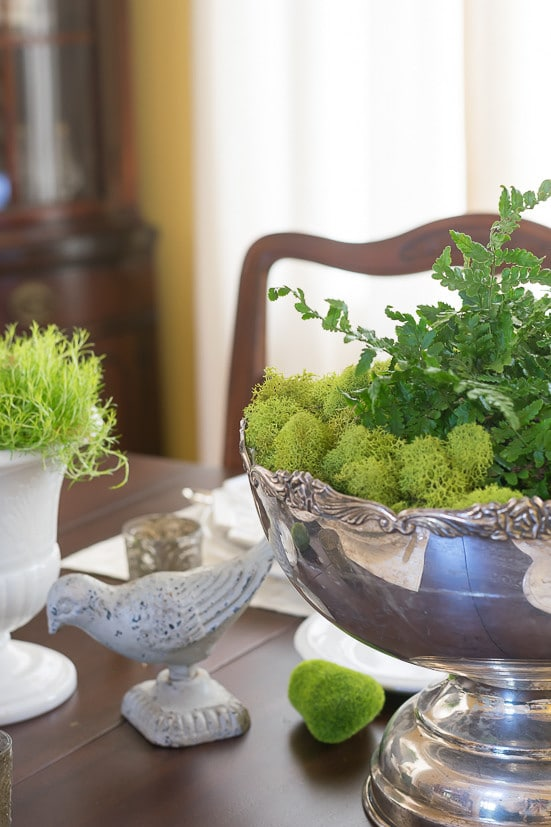 Spring Table Decor: close up of spring centerpiece and moss decor ideas