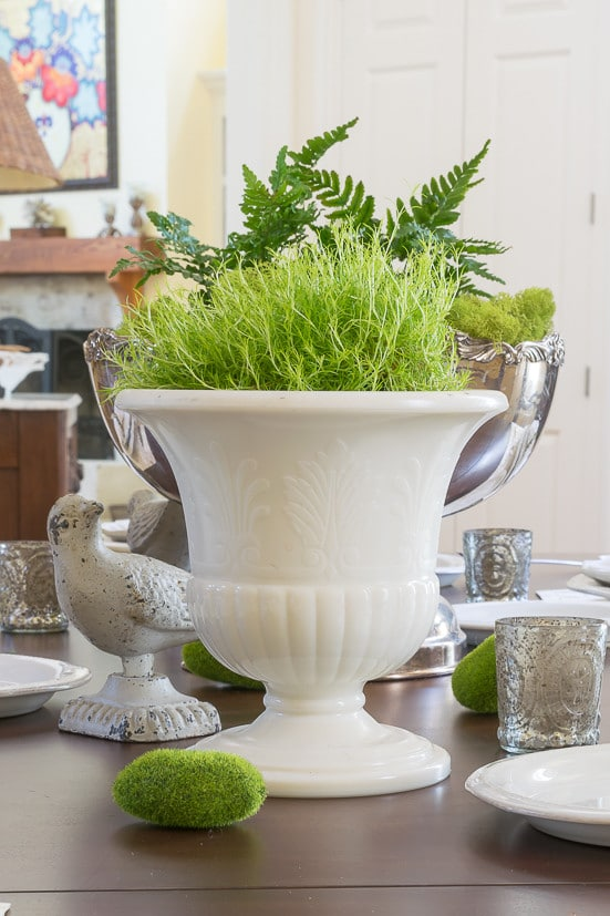 Spring Table Decor: Moss filled urn