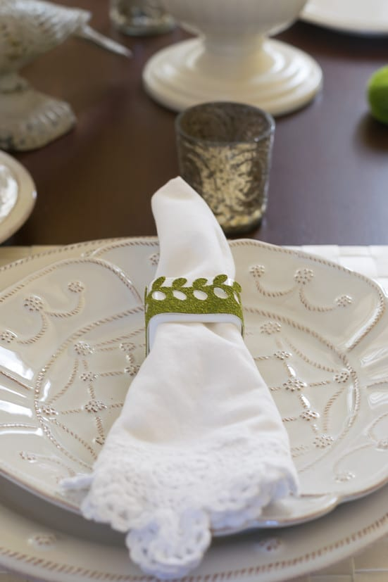 Spring Table Decor: close-up of moss decor napkin ring