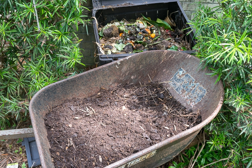 How to Compost: Compost bin with wheelbarrow full of finished compost