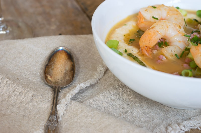 Country ham, green tomatoes, grits and shrimp combine to make an outstanding bowl of Shrimp and Grits.