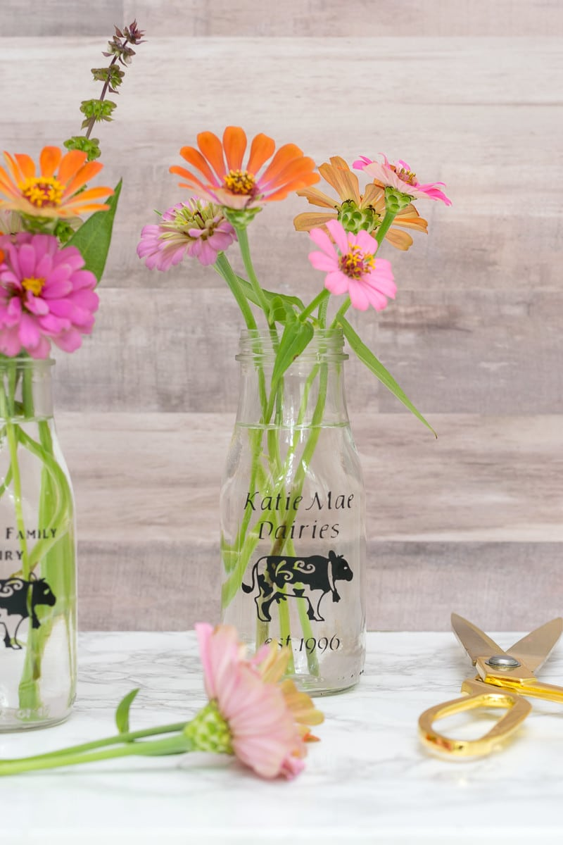 Personalized diy glass milk bottles nourish and nestle i love these little diy glass milk bottles for my zinnia bouquets reviewsmspy