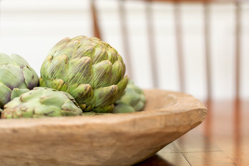 Artichokes make a lovely fall centerpiece.