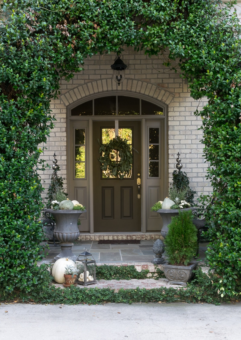 Fall Front Porch and Fall Container Gardens in shades of gray, green and white.