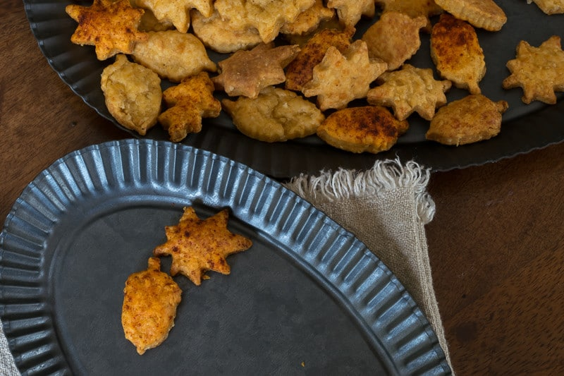 These cheese crackers cut into min fall leaf shapes, are the perfect fall treat for entertaining, tailgating or just snacking.