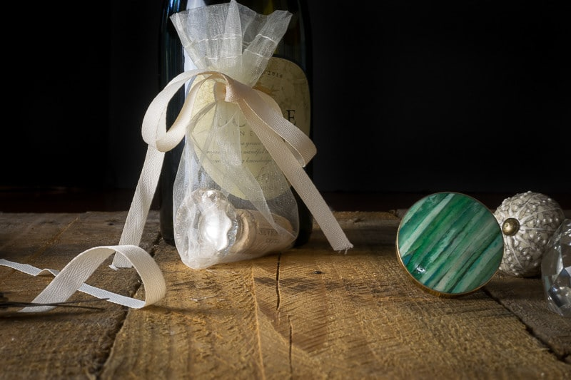 Tuck your wine stoppers into a little gift bag for easy gifting.