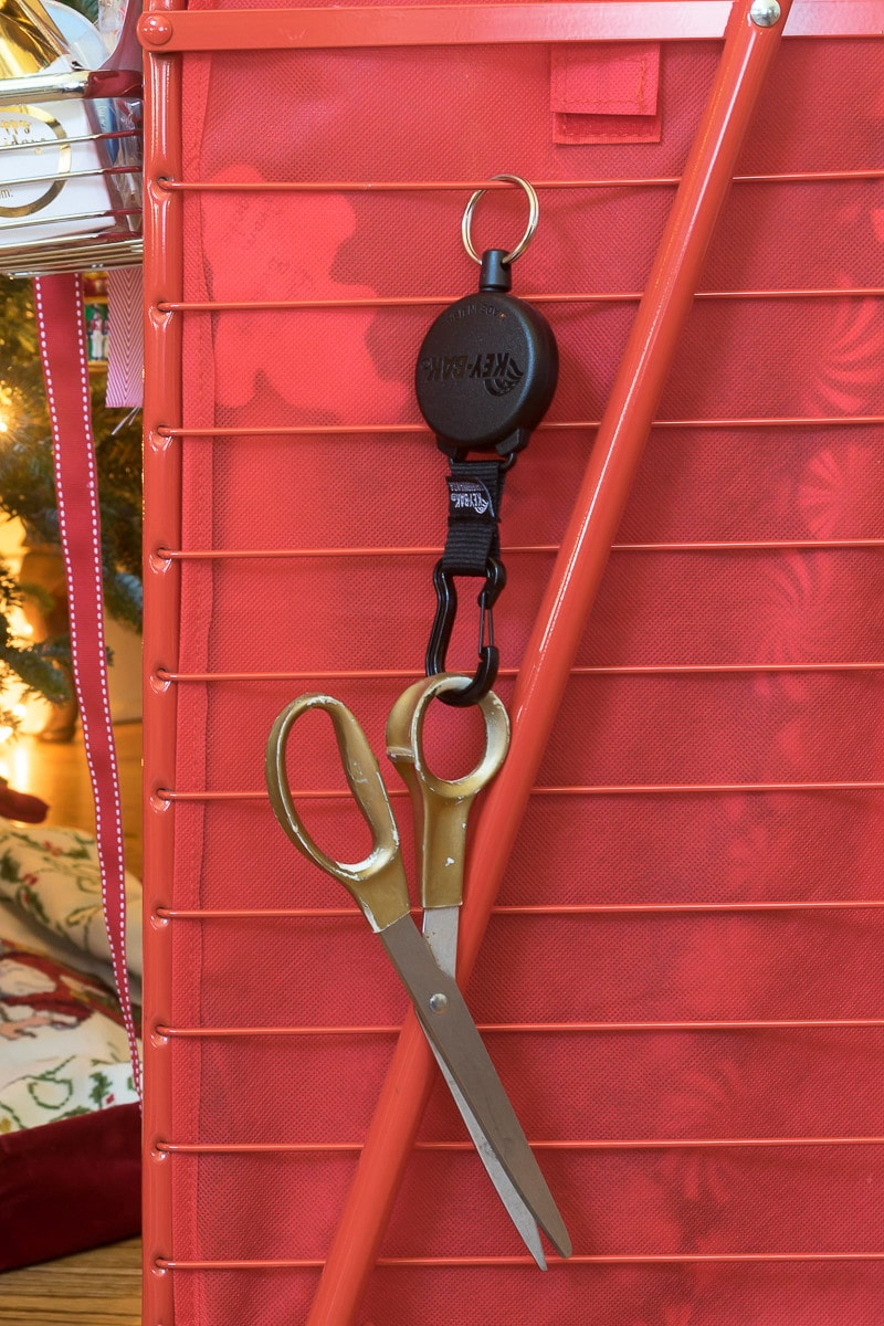 Retractable Scissors...one of my favorite details of my wrapping paper cart.