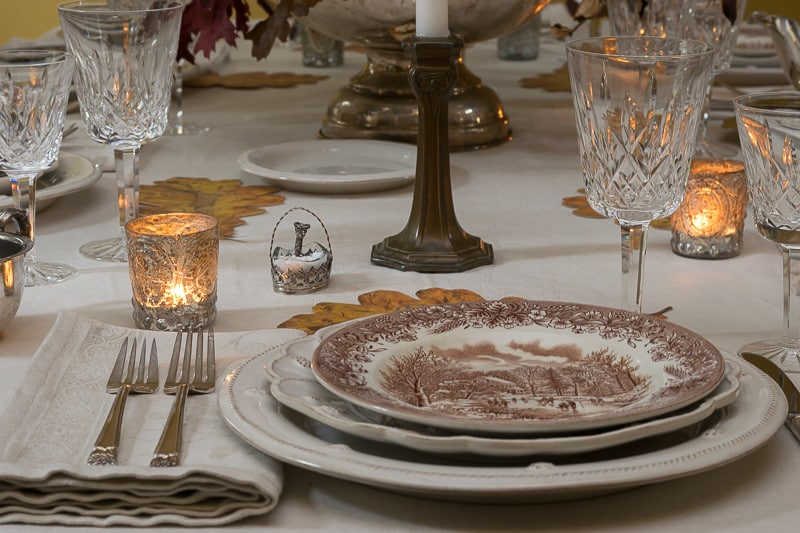 Thanksgiving table setting with Juliska Plates and Brown Transferware
