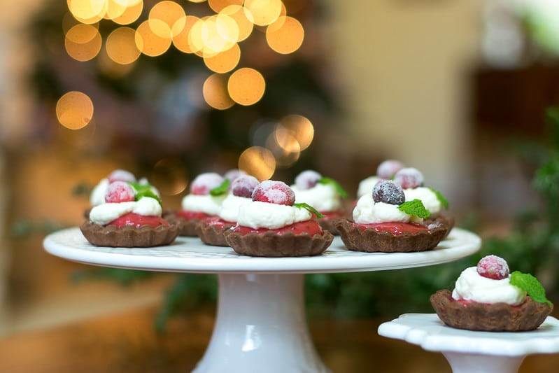 Delicious Mini Chocolate Cranberry Tarts with Sugared Cranberries
