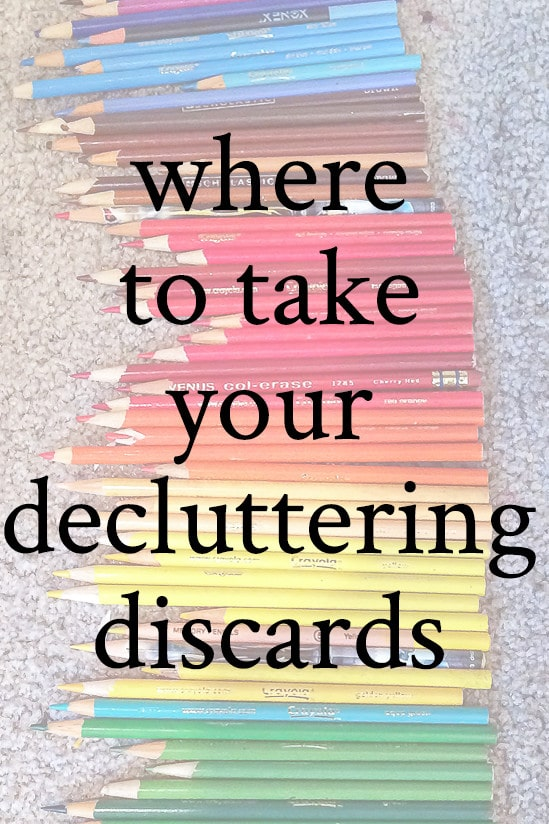 Discarded Pencils with overlay where to take your decluttering discards