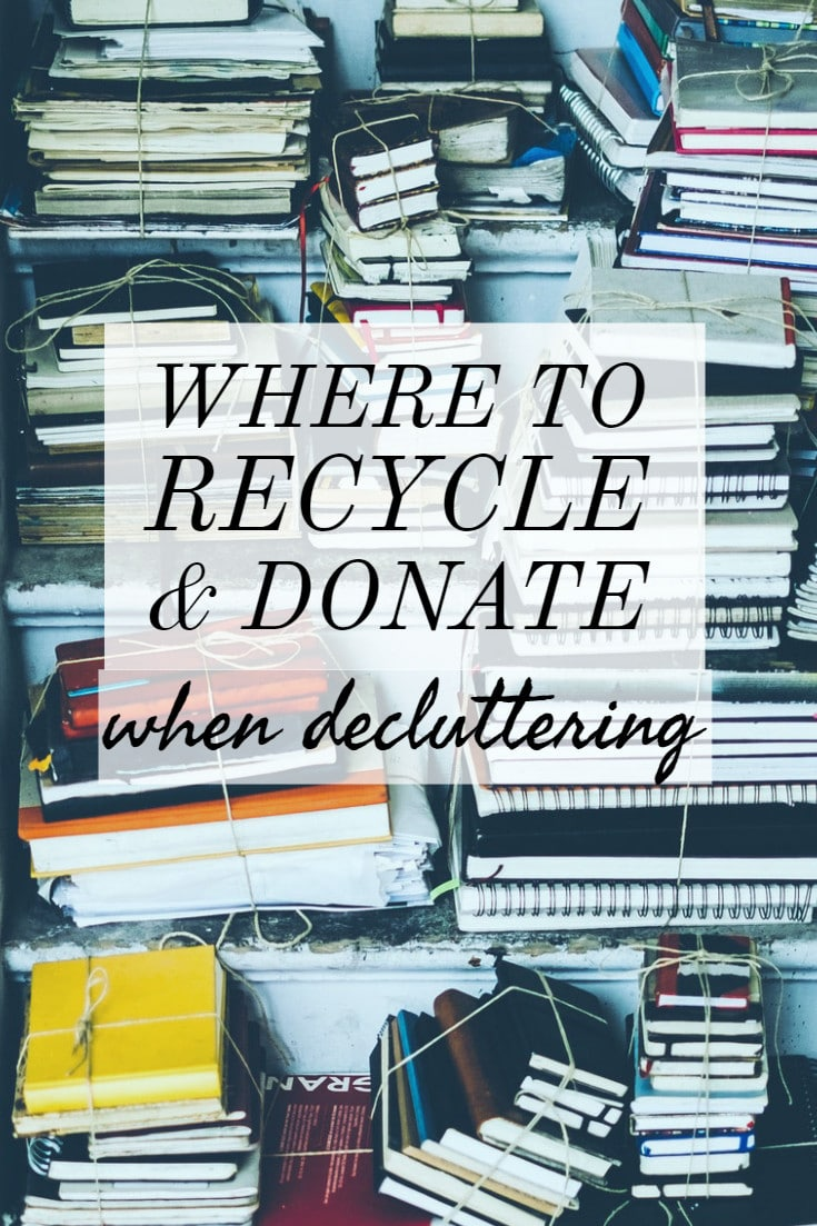 Where to donate to charity and recycle: stacks of books and household items for donation