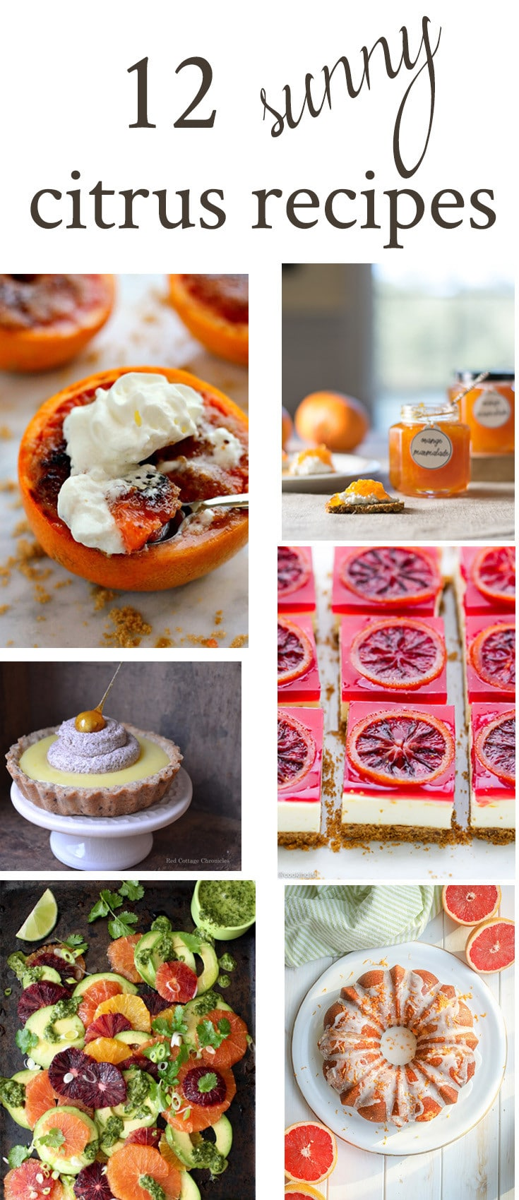 A curation of 12 sunny and delicious citrus recipes featuring oranges, lemons, grapefruits and limes in soups, salads, breakfast and dessert items.