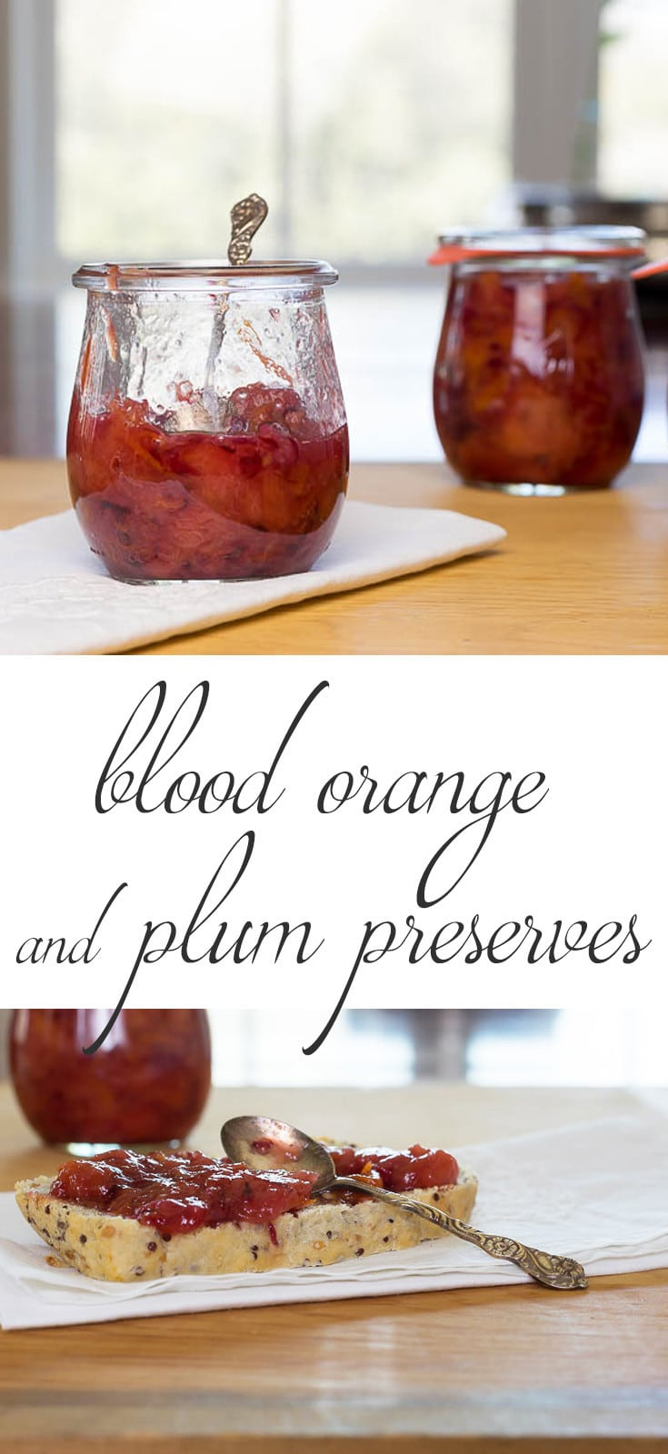 Blood Orange and Plum Preserves combines tart, fresh plum with beautiful and sunny blood oranges for a delightful burst of sunshine on your toast or biscuit.