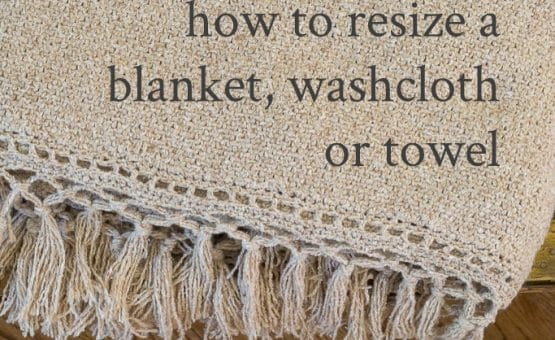 Instructions showing calculations how to resize a knit blanket, washcloth or towel. Easy explanation for use with any flat kit