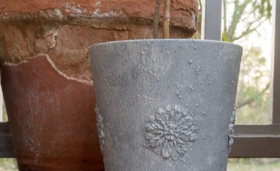 Faux Concrete Planter with DIY Flexible Medallions