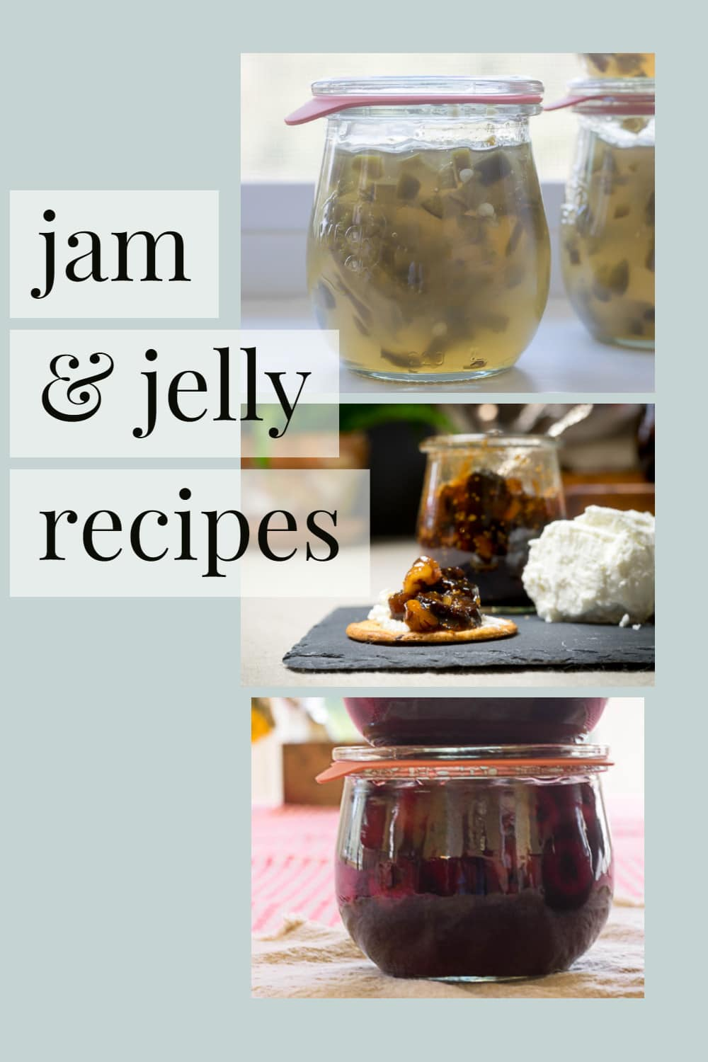 pin showing 3 jars of jelly