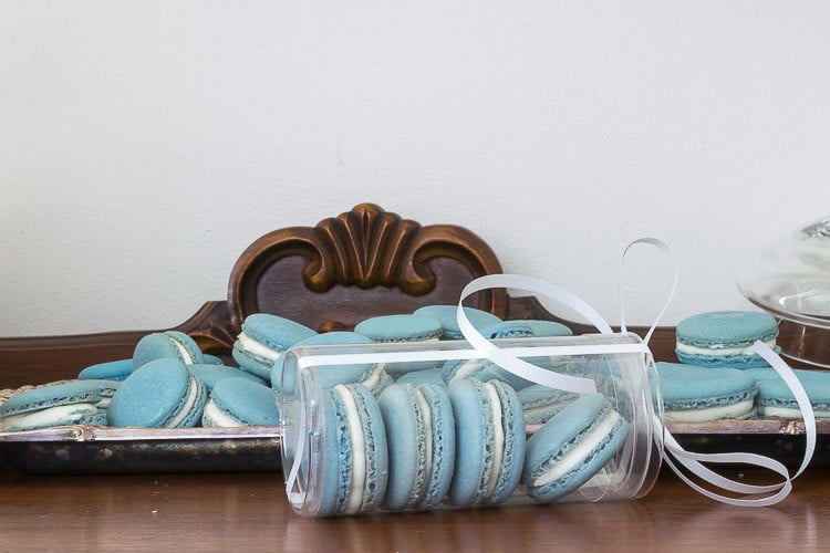 Carolina Blue and White Macarons