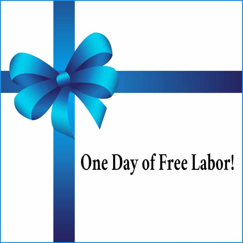 coupon for one day of free labor is a great frugal gift idea