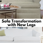 Before and AFter Old Sofa with New Legs