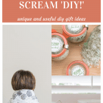 pin showing neck wrap, bowls and food gifts as diy gift ideas