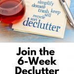 Pin showing napkin with words, 'simplify, donate, trash, keep, sell, recycle, sort, declutter' for the 2021 Declutter Challenge