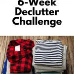 Pin showing pile of clothes for the 2021 Declutter Challenge
