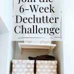 Pin showing an organized closet for the 2021 Declutter Challenge